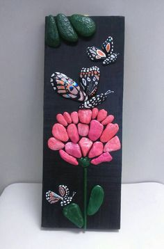 Pebble Art Butterfly Pink Flower Stone Art Beach Stone Artwork Home Decor Wall Art Pebble Artwork Butterflies Pink Stone Flowers Pebble Art Butterfly And Pink Flower Stone Art By Stefartnatural Stone Crafts, Rock Crafts, Diy And Crafts, Arts And Crafts, Pebble Stone, Pebble Art, Stone Art, Rock Flowers, Beach Stones