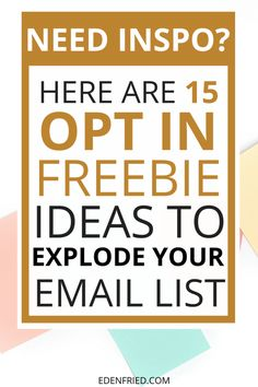 15 Opt In Freebie Ideas to EXPLODE your Email List. Grow your email list. Freebies for your email list. Opt ins to grow your email list. E-mail Marketing, Marketing Website, Email Marketing Strategy, Marketing Digital, Business Marketing, Online Marketing, Social Media Marketing, Affiliate Marketing, Online Business