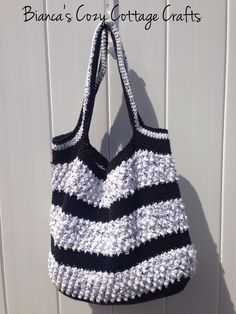 crochet market bag handmade crochet bag tote bag market bag beach bag crochet bag cotton beach bag black and white crochet bag (35.00 USD) by BsCozyCottageCrafts
