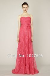 Online Shop Coral LaceLong Sweetheart Strapless Bridesmaid Dress Wedding With Sash 2014 Floor Length Maid Of Honor Dress Vestidos De Fiesta|Aliexpress Mobile