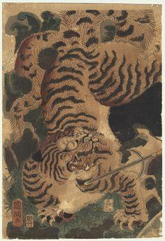 Original Kunitsuna II (1829 - 1874) Japanese Woodblock Print  Sato Masakiyo's Tiger Hunt, 1860