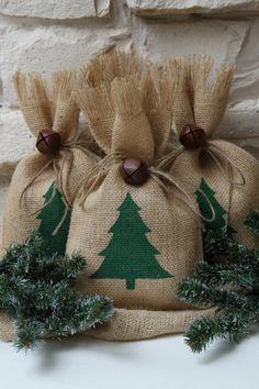 Burlap Gift Bags Christmas Tree Shabby Chic by FourRDesigns