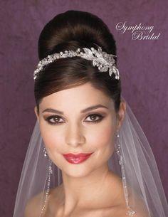 Gorgeous! Pearl and Rhinestone Headband Symphony Bridal 7102CR - Affordable Elegance Bridal -