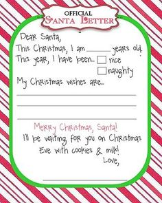 Free Printables: Santa Letters. Letter To Santa TemplateLetter ...  Christmas List To Santa Template