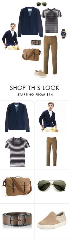 """""""navy cardigan"""" by ulusia-1 ❤ liked on Polyvore featuring Maison Margiela, Lacoste, A.P.C., Ted Baker, J.Crew, Diesel, Brunello Cucinelli, FOSSIL, men's fashion and menswear"""
