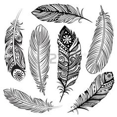 Vector Isolated Set Of Black Ethnic Tribal Feathers Royalty Free Cliparts, Vectors, And Stock Illustration. Pic Set Of Black Ethnic Tribal Feathers Royalty Free Cliparts, Vectors, And Stock Illustration. Et Tattoo, Medusa Tattoo, Hand Tattoo, Tribal Feather, Feather Art, Indian Feather Tattoos, Mandala Feather, Feather Tattoo Design, Pena Tribal
