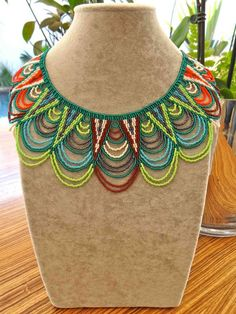 The Susie Necklace 1     These unique hand beaded crochet necklaces are made by a team of ladies living in a rural area of Kwa Zulu Natal. E...