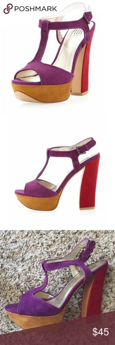 """Pelle Moda colorblock Platform sandal Pelle Moda colorblock T-strap heeled platform sandal, size 8.    5"""" chunky heel; 1 1/4"""" platform.  red and purple. Worn once, perfect condition. Purchased from Nordstroms. Leather and suede pelle moda Shoes Platforms"""