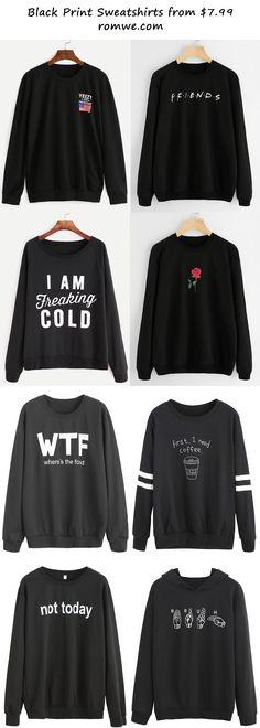 black sweatshirts 2017 - romwe.com