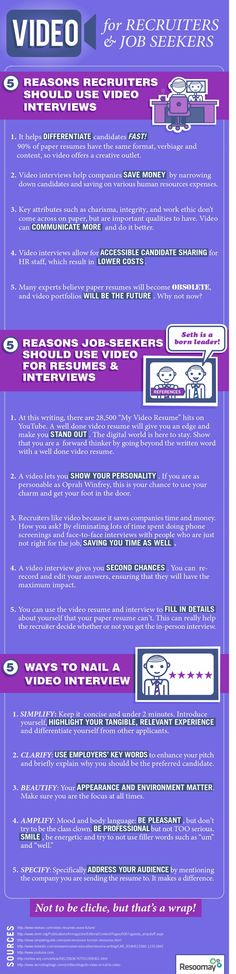Video interviews are a fairly new development in the world of recruiting, but one that is receiving a lot of attention. Should you dive into using video interviews to screen and assess candidates? Why might you use video interviewing instead of more traditional interview methods? This infographic by Resoomay, a cloud based hiring efficiency tool, discusses video interviews for both recruiters and jobseekers.