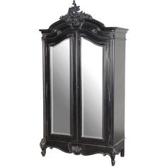 Moulin Noir 2 door Mirrored Armoire ($1,780) ❤ liked on Polyvore featuring home, furniture, storage & shelves and armoires