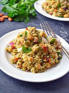 Quinoa Chickpea Almond Salad with Roasted Scallion Dressing Recipe | The Law Students Wife