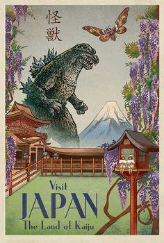 "Chet Phillips ""The Land of Kaiju"" Postcard Print"