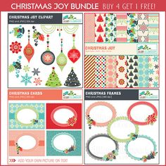 Christmas Digital Papers, Cliparts, Cards and Frames Bundle - Set of 4 Matching Christmas Designs