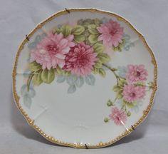 Limoges France Elite Works Hand Painted Floral Pattern Plate