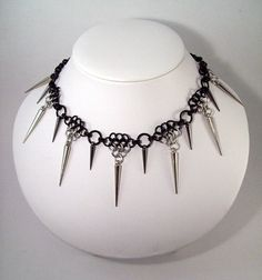 spiked chainmaille necklace