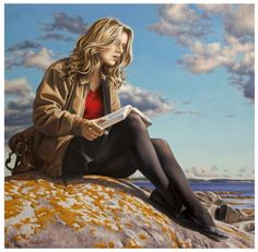 Art by Paul Kelley Hyper Realism Painting Canadian Painters, Canadian Artists, Female Images, Female Art, Paul Kelly, Hyper Realistic Paintings, Creation Photo, Fashion Artwork, Reading Art