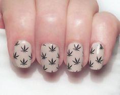 Pot Leaves Nail Decal Weed, Cannabis, 420 Full Nail Wrap nail decal by NAILTHINS