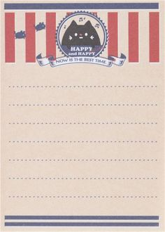 small memo pad with cute little black cat and red stripes by Q-Lia