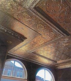 This gorgeous original #WFNorman #tinceiling was installed sometime between 1905 and 1930 and still looking as good as new! #decorativeceiling Tin Ceilings, Ceiling Decor, Art Deco Fashion, Norman, Home Remodeling, Colonial, Louvre, Victorian, Interior Design