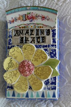 Amazing Grace vintage china mosaic collage