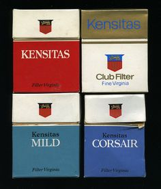 Kensitas cigarette packets, 1970s by retrowow, via Flickr