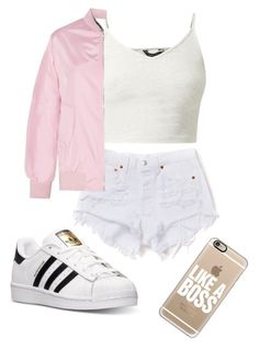 """Pink bomber jacket"" by alwayslay143 ❤ liked on Polyvore featuring adidas and Casetify"