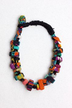 Colorful rustic necklace, fiber and textile statement jewelry with bamboo beads, OOAK