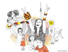 Illustrationen für die Berliner Verkehrsbetriebe BVG  by Eva-Maria Birkhoff Illustration, Snoopy, Fictional Characters, Art, Art Background, Kunst, Illustrations, Performing Arts, Fantasy Characters