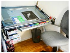 Major kewl... Perfect Futura Glass Drafting Table | Flickr - Photo Sharing!