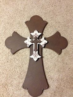 Decorated Wooden Layered Wall Cross - Decorating Wooden Crosses Ideas