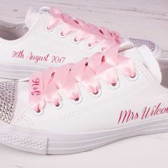 Buy Pink Wedding Converse. Add your name, wedding date or Bride to the heels of these Pink Wedding Converse. Design your Pink Weddding Converse today!