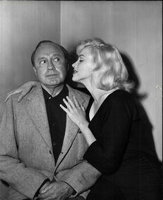 Marilyn Monroe and Jack Benny during rehearsal for the Jack Benny Show, September 10, 1953.