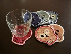 Day of the Dead crochet coasters