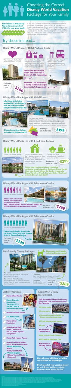 Choosing the Disney World vacation package for your Family....great information!!