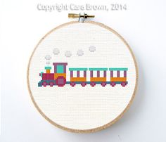 Train Cross Stitch Pattern Instant Download Easy needlepoint modern cute boys nursery toy choo choo train