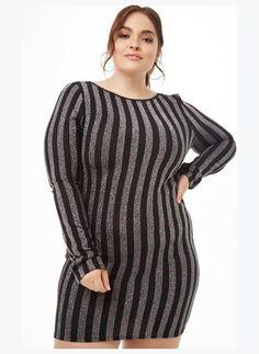 89115bc58ee FOREVER21 PLUS Plus Size Metallic Striped Mini Dress
