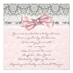 Pink Gray Damask Pink and Gray Baby Girl Shower 5.25x5.25 Square Paper Invitation Card