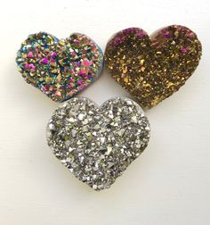 """Assorted Irradiated Titanium Hearts~ 4"""" x 3"""" x 1""""D ~ Same day shipping till V. day!! by LuvBLuved on Etsy"""
