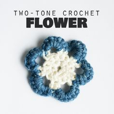 Two-tone crochet flower from yarn scraps (photo tutorial) craftingfingers.co.uk | This was a pretty simple project. The instructions are from the UK, so sc rather than dc.