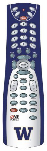 One For All 4 Device Universal Remote Control with University of Washington Logo and Colors by One For All. $11.71. World's largest code library ensures wide compatibility. Sleep timer. Dedicated menu keys for digital cable and satellite. Favorites button scrolls through 10 of your selected channels. Master power key turns all components on and off. Amazon.com                Show your true University of Washington colors when you're watching the game. The All ...