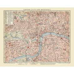 London - City and Westend antique map reproduction. Handmade paper print. Old map of London.