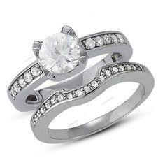 4 Prong Set Round Cut Diamond Women's Wedding Engagement Bridal Ring Set #aonedesigns