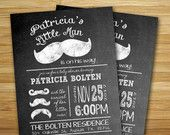 Mustache baby shower invitation - Little man mustache boy baby shower invite- DIY chalkboard  mustache party printable decorations