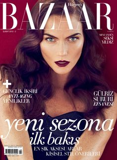 Bazaar Beauty – Mini Anden covers the February edition of Harper's Bazaar Turkey, shot by Koray Birand. Lush curls by hair stylist Tuan Anh Tran and a dark lip by makeup artist Darlene Jacobs
