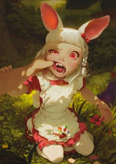 Fantasy character inspiration for writing. Lil Red Riding Hood or Alice in Wonderland's White Rabbit gone feral Character Concept, Character Art, Concept Art, Art And Illustration, Fantasy Kunst, Fantasy Art, Anime Kunst, Anime Art, Fantasy Characters
