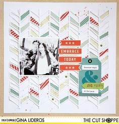 Embrace Today - Scrapbook.com - Fill a fun die cut background with different patterned papers.
