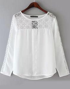 2015 New Workwear Shirts Casual Chiffon Blouse Fashion Ladies' Elegant Lace Blouses Lace Spliced Tops Plus Size Size S M 38 Lace Tops, Chiffon Tops, Women's Blouses, Spring Blouses, Bohemian Mode, European Fashion, European Style, White Long Sleeve, Blouse Designs