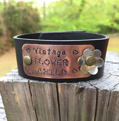 Vintage Flower Child Leather Cuff with Hand by BlueWillowBracelets
