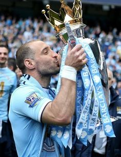 """9 Years 322 Apps  League Titles   FA Cup   League Cups   THANK YOU PABLO ZABALETA!!   """"Oooh Pablo Zabaleta, he is the f***ing man! He is an Argentinian, he's harder than Jaap Stam! He plays in blue and white for Guardiola's men! And when we win the league we'll sing this song again!!"""" Manchester City, Jaap Stam, Zen, For You Blue, European Soccer, Best Football Team, Blue City, Fa Cup, Team Photos"""